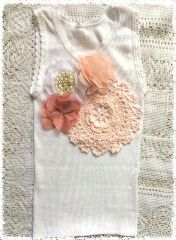 Handmade newborn to girl crochet and flower vintage inspired singlet tank top