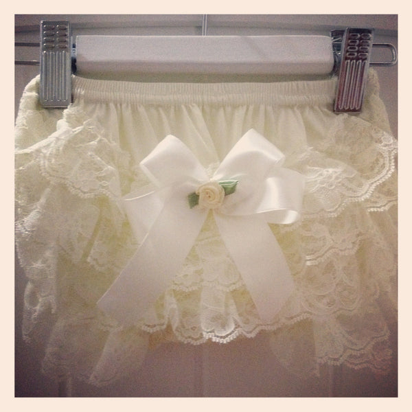 Baby & Girl Lace Satin Bow Bloomers - BLMR06
