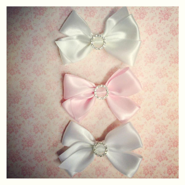 Baby & girl pink ivory or white bling satin bow on non slip hair clip.clip37