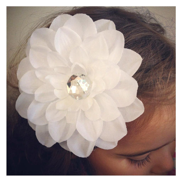 Baby & girl Christening and Flower Girl white flower hair clip. clip28
