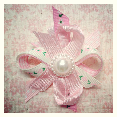Baby & girl pink or white floral spotty flower on hair clip.clip35