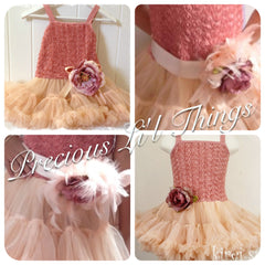 Baby & girl rose pink pettiskirt tutu dress. TUFW79