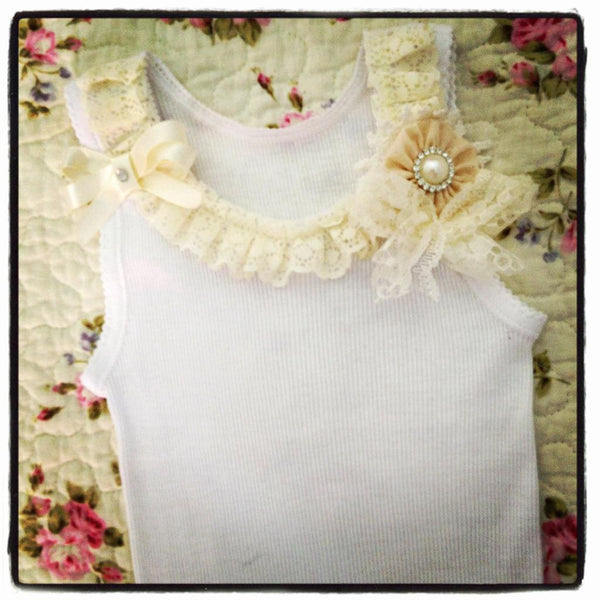 Baby to girl ivory or white vintage inspired singlet tank top.SINGLET01