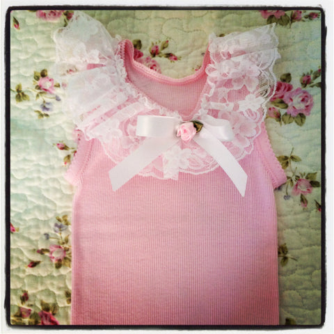 Baby to girl  pink top white or ivory vintage inspired singlet tank top.SINGLET02