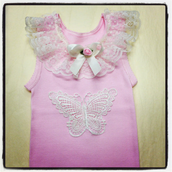 Baby to girl ivory pink or white butterfly vintage inspired singlet tank top.SINGLET03