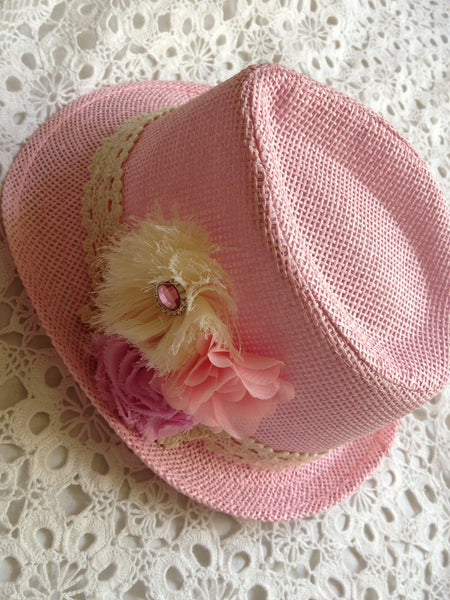 Pink floral fedora girl to lady hat. HAT02