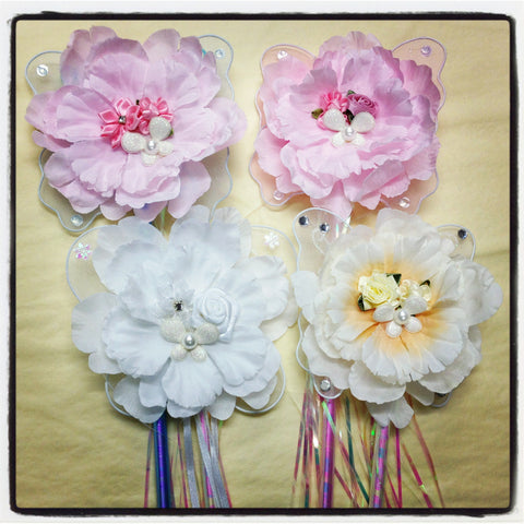 Vintage inspired baby pink white or blue peonie flower fairy wand. Wand06