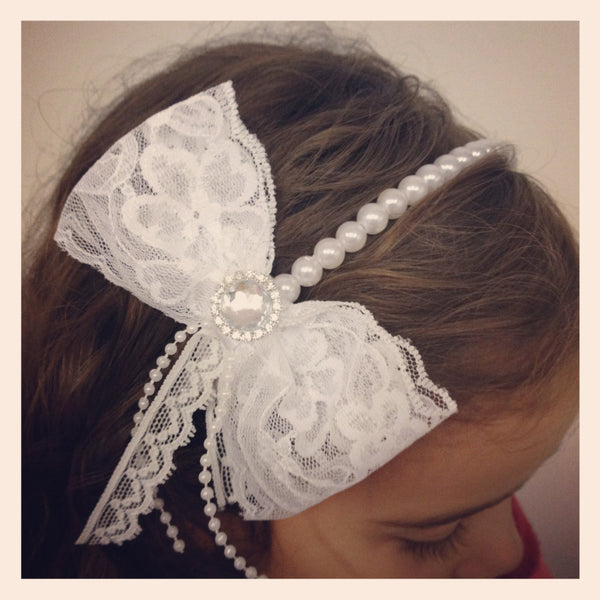 Baby, girl, lady white or ivory christening flower girl bridal fascinator vintage lace bow headband