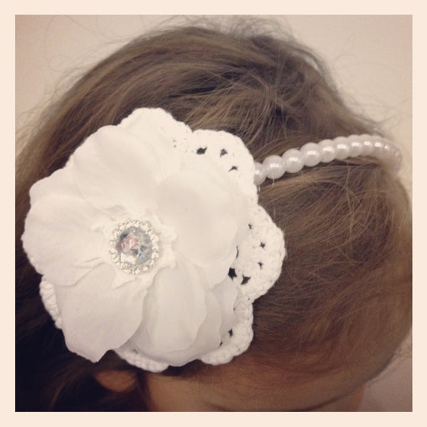 Girl & lady ivory or white vintage christening flower girl bridal fascinator pearl flower headband FLHD20