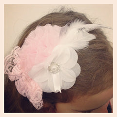 Girl & lady ivory, pink or white vintage christening flower girl bridal fascinator pearl flower headband FLHD21