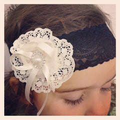 Baby girl & ladies white, ivory &/or black vintage christening flower girl bridal fascinator headband FLHD23
