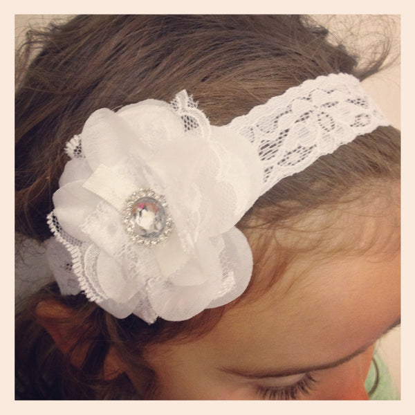 Baby, girl, lady white, ivory or pink vintage christening flower girl bridal fascinator lace flower headband  FLHD16