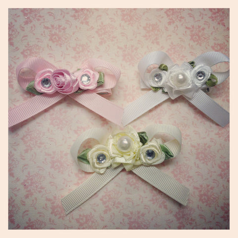 Baby & girl pink ivory or white floral bow on non slip hair clip.clip57