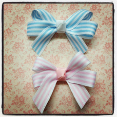 Baby & girl pink or blue & white stripe grosgrain bow hair clip. clip10