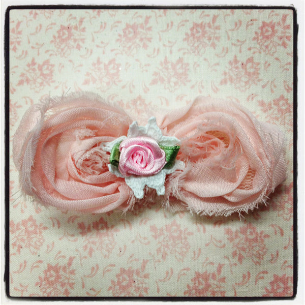 Baby girl lady white ivory or pink vintage  flower non slip hair clip christening flower girl.clip40