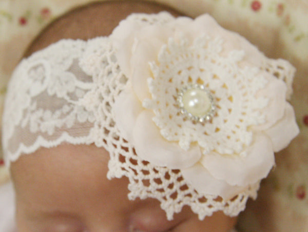 Baby, girl, lady white or ivory vintage christening flower girl bridal fascinator lace flower headband  FLHD38
