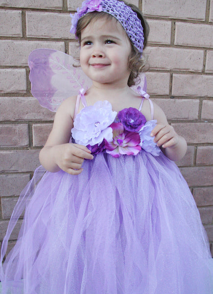 Baby & girl lilac or purple floral flower girl fairy tutu dress TUFW12