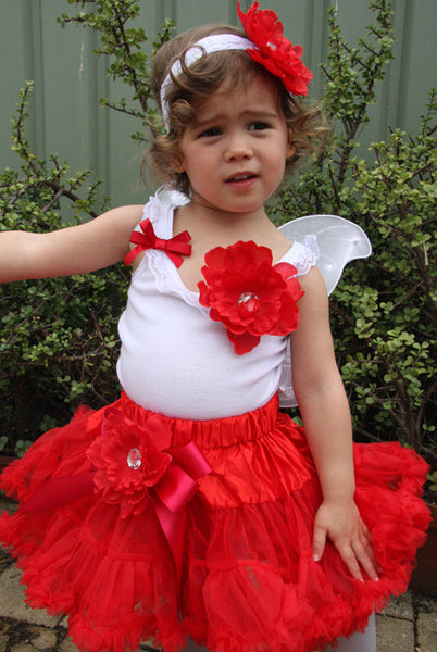 Baby & girl red pettiskirt with removable peonie non slip flower hair clip TUFW06