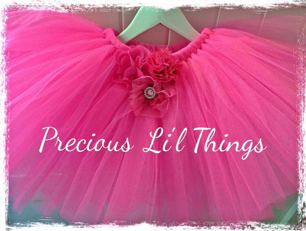 Hot pink vintage Baby & Girl Fluffy Floral Fairy Tutu Skirt