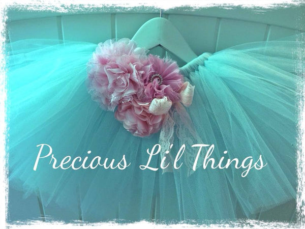 Baby blue and pink vintage Baby & Girl Fluffy Floral Fairy Tutu Skirt