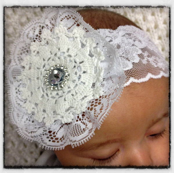 Baby, girl, lady white or ivory vintage christening flower girl bridal fascinator lace flower headband  FLHD70