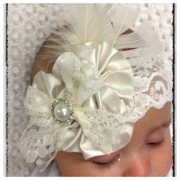 Baby, girl, lady white or ivory vintage christening flower girl bridal fascinator lace flower headband  FLHD33