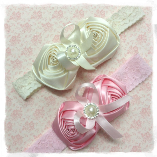 Baby, girl, lady white, baby pink or ivory vintage christening flower girl bridal fascinator headband FLHD44