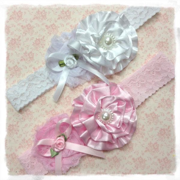 baby, girl, lady white or baby pink vintage christening flower girl bridal fascinator headband.BRGN04