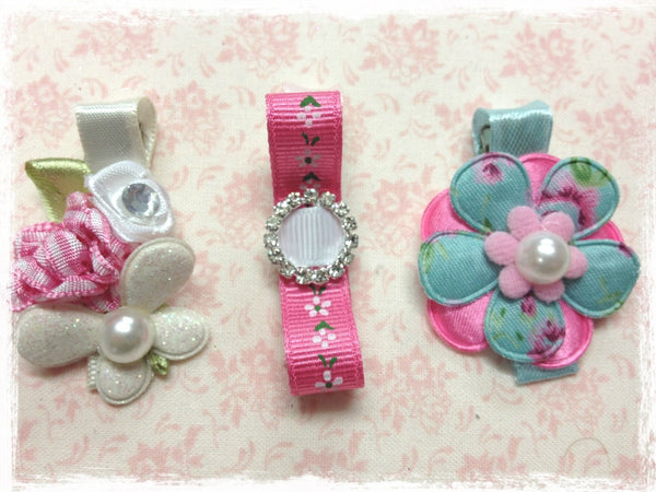 Baby & girl white pink blue bow flower  non slip hair clips.clip68