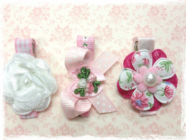 Baby & girl white & pink bow flower non slip hair clips.clip69