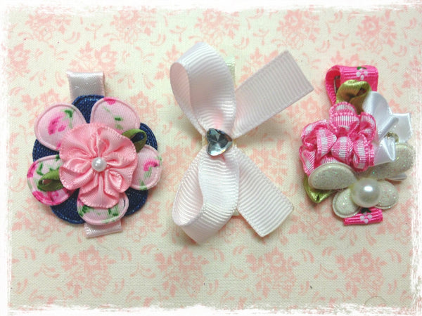 Baby & girl white blue pink bow flower non slip hair clips.clip70
