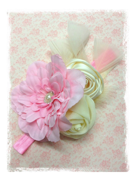 Baby, girl, lady white, ivory, ivory/pink, white/pink vintage christening flower girl bridal fascinator lace flower headband  FLHD35