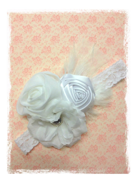 Baby, girl, lady white or ivory vintage christening flower girl bridal fascinator lace flower headband  FLHD37