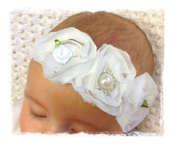 Baby, girl, lady white vintage christening flower girl bridal fascinator lace flower headband  FLHD42