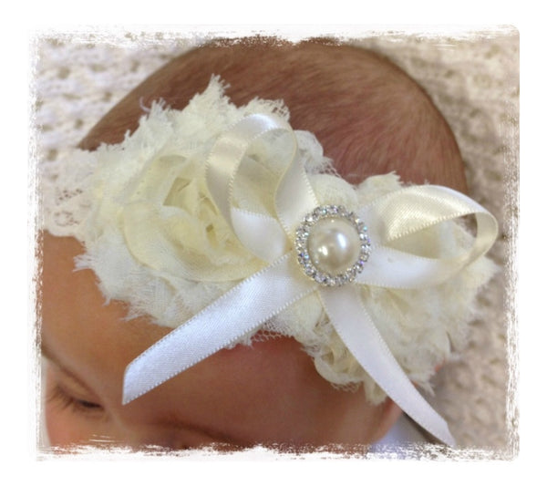 baby, girl, lady white ivory or baby pink vintage christening flower girl bridal fascinator headband FLHD45