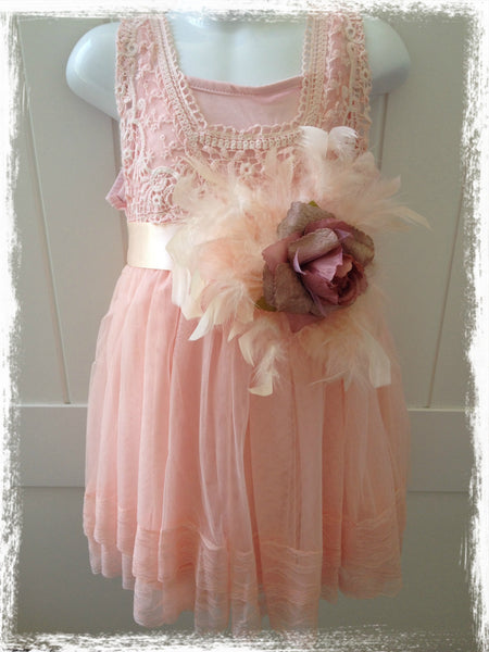 Rose pink rose feather sash. Sash04