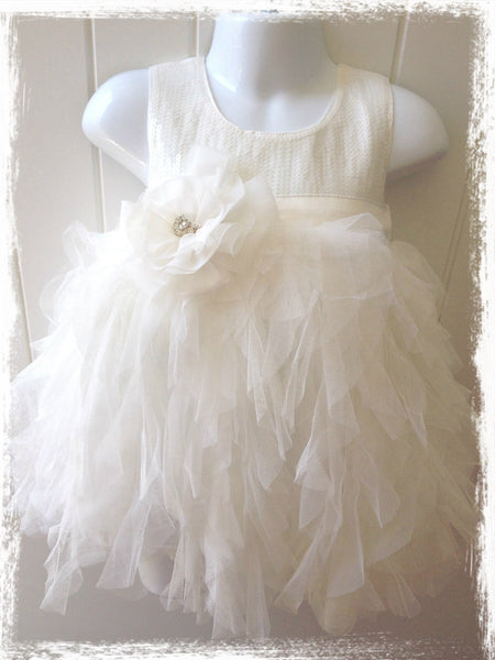 Size 1 or 2 Toddler to Girls white sequin flower girl dress. Dress39