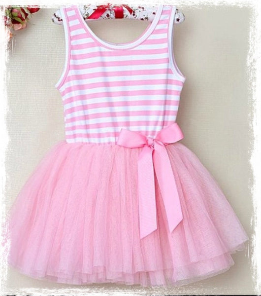 Pink and White stripe tulle dress. Dress41