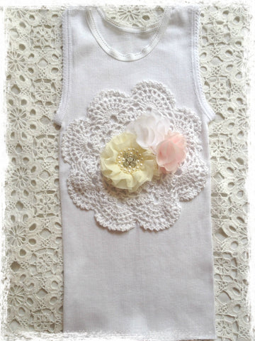 Handmade Newborn to Toddler crochet and flower vintage inspired singlet tank top. SINGLET63