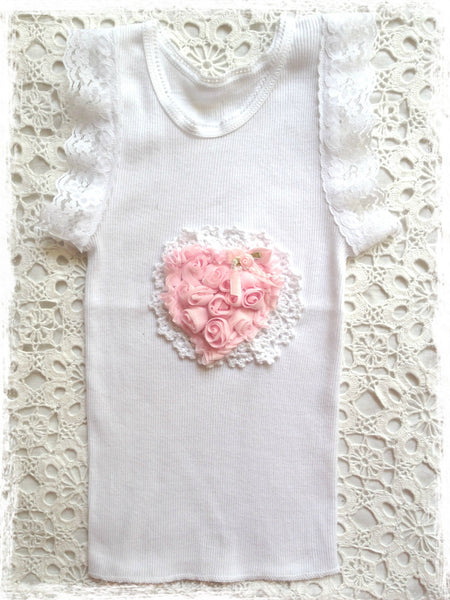 Handmade Newborn to Toddler crochet and rosette vintage inspired singlet tank top. SINGLET64