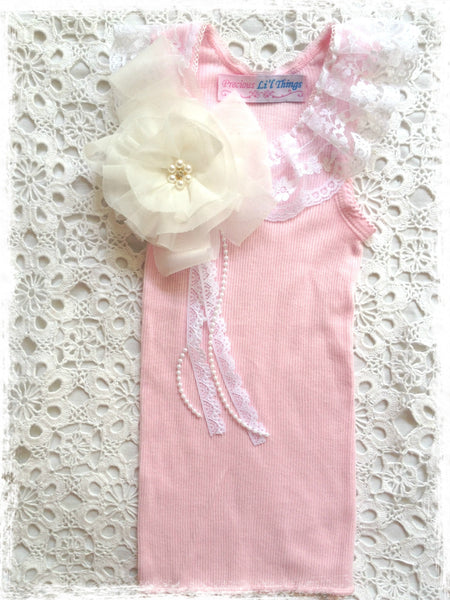 Handmade Newborn to Toddler flower, pearl and lace vintage inspired pink singlet tank top. SINGLET65