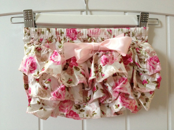 Baby & girl pink floral satin bloomers BLMR08