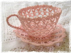 Crochet teacup and saucer-white, ivory or pink