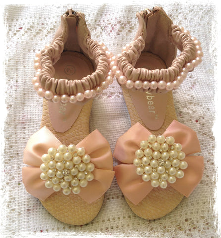 Girls dusty pink and ivory vintage bling pearl sandals. Shoes10