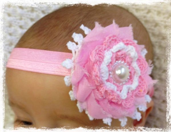 Baby & girl shabby flower headband. BRGN09
