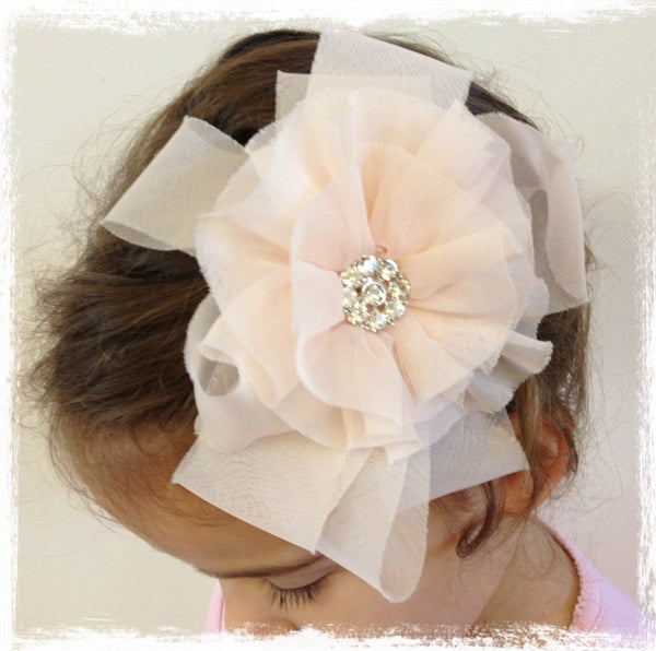Baby girl lady white or peach organza vintage flower hair clip & brooch christening flower girl. bridal clip73