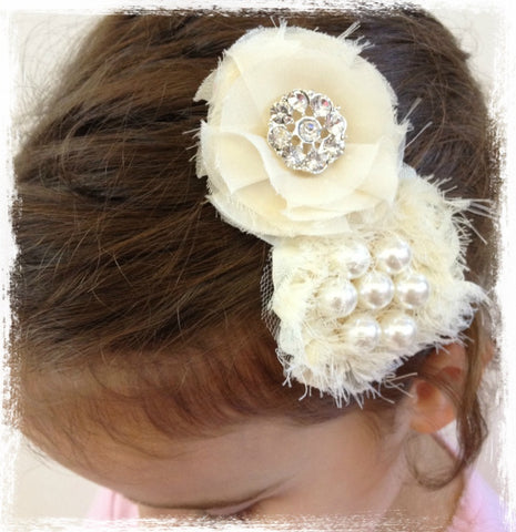 Baby & Girl Ivory Pearl Hair Clip - Clip74