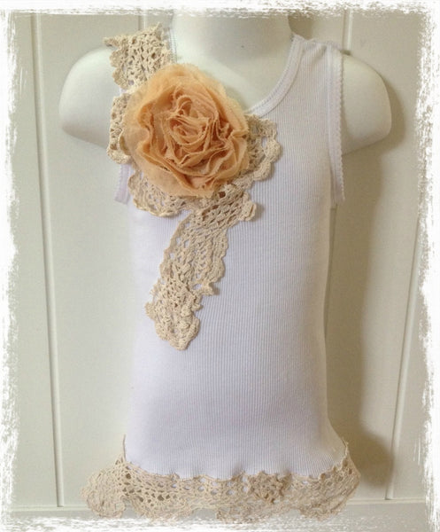 Baby to girl ivory & white vintage inspired singlet tank top.SINGLET24