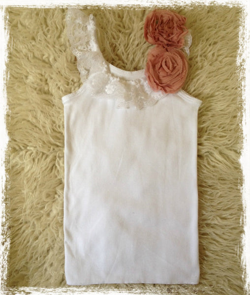 Baby to girl white & rose pink vintage inspired singlet tank top. SINGLET23
