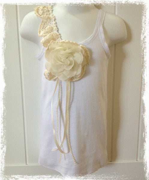 Baby to lady white & ivory vintage inspired singlet tank top.SINGLET12
